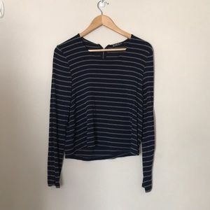 Tops - Cotton-on Blue Stripes Cropped Sweater